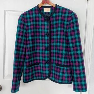 Pendleton Purple, Blue, & Green Wool Blazer Sz 12